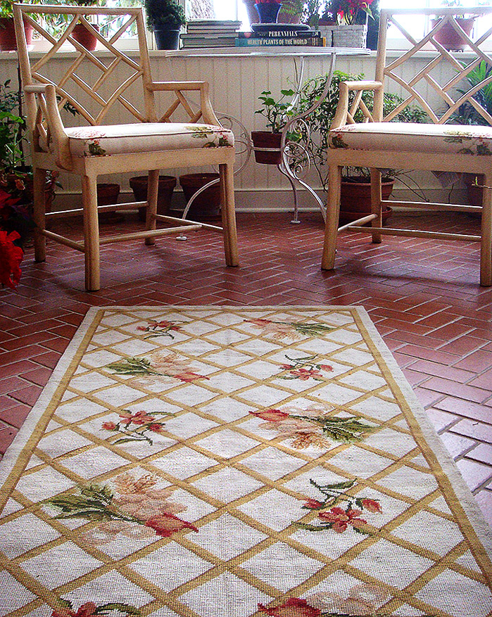 This Nejad Rugs handmade Needlepoint Trellis rug, original design by Theresa Nejad,  is featured in client's Princeton, NJ area home