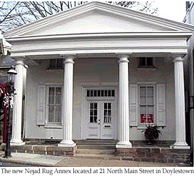 Nejad Rugs in Doylestown expands its showroom to   historic Greek revival building at 21 N. Main Street