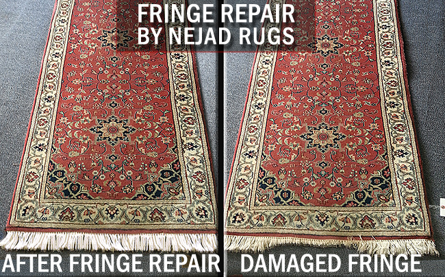 Before and after photos of damaged fringe on oriental rug runner