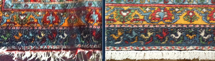 Fringe on handmade Moroccan Rug: Before-After Detail.