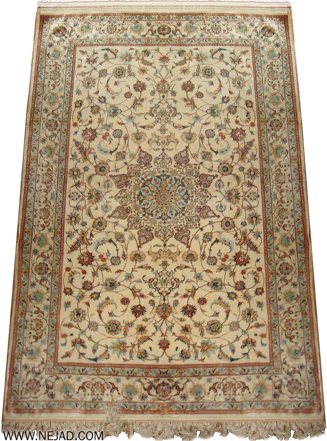 Antique Persian Silk Ghoum Rug - Nejad Rugs #23652