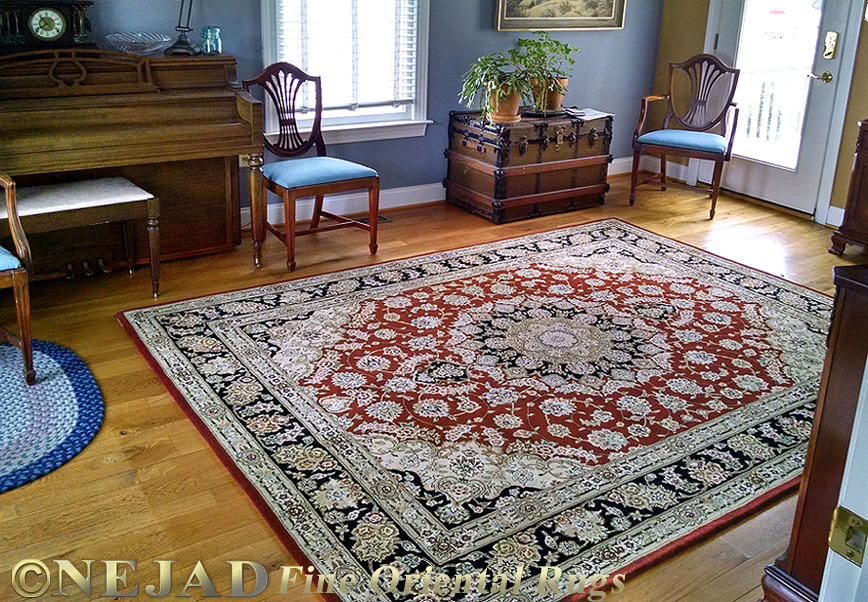 Tabriz Silk & Wool Burgundy/Black Medallion Rug