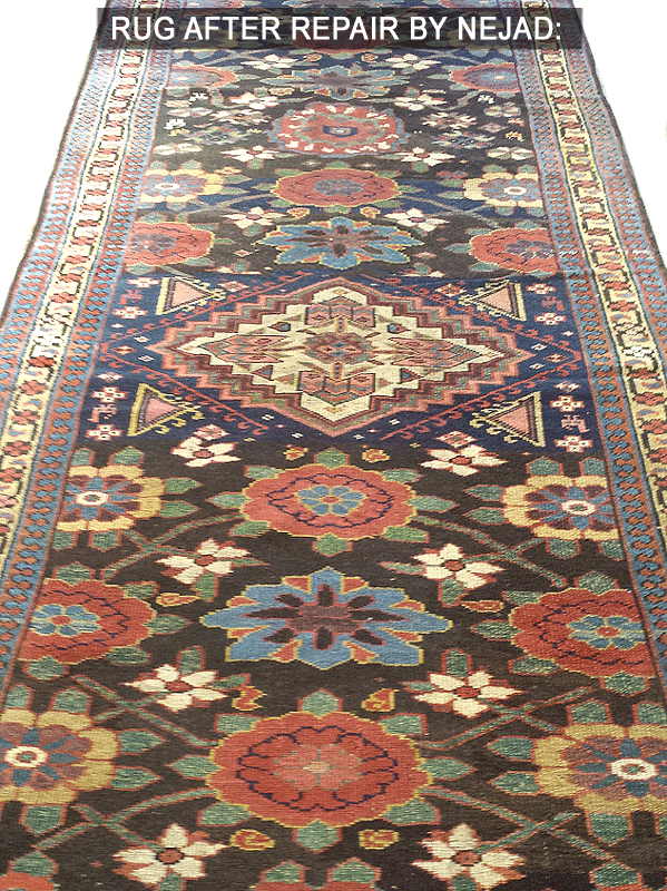 The masterfully completed rug restoration project