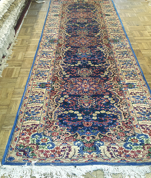 The Perfect Rug Runner - Blue Kerman Lavar wool & silk runner