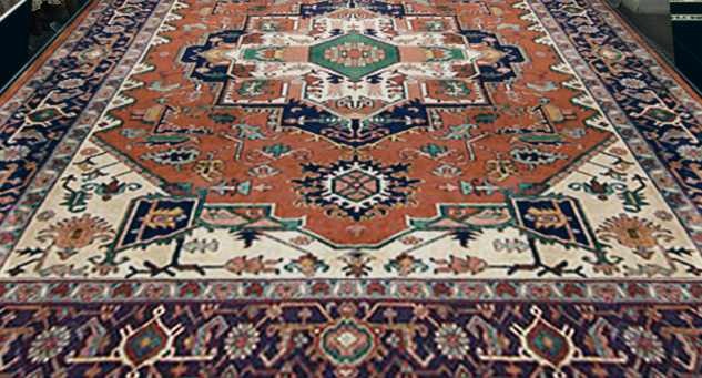 Classic Persian Heriz hand-knotted wool Oriental rug (pictured)