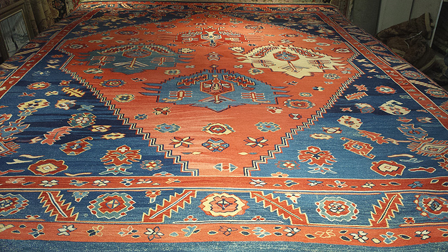 Full view of rug with undetectable repair by Nejad.