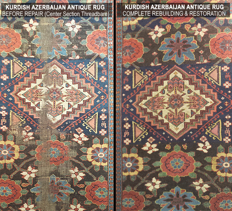 Image shows damaged antique Kurdish Azerbaijan rug both before repair and after Nejad expert restoration. Link below to image detail page.