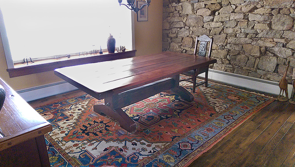 Nejad Heriz rug shown in Lehigh Valley dining room