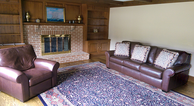 Nejad Hunt Tabriz rug (pictured) in New Hope PA living room