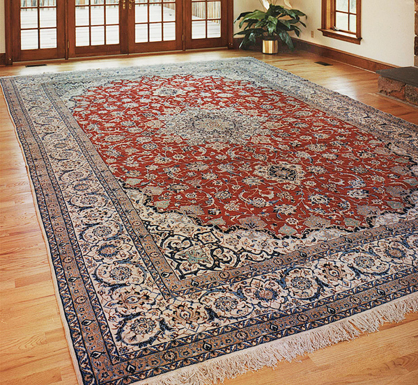 Persian Nain room-size silk & wool area rug by Nejad