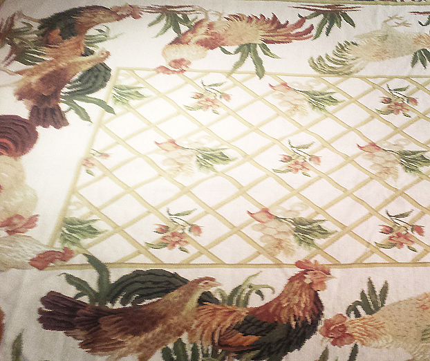 handmade wool needlepoint with roosters & chickens (pictured)