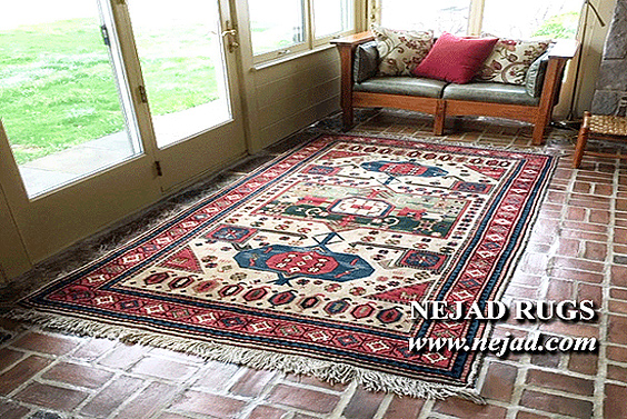 Nejad rug on brick tile floor