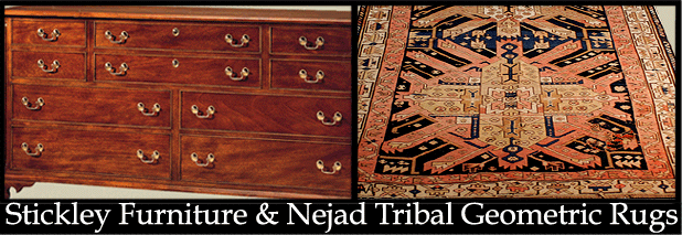 Stickley cabinet and Nejad antique rug