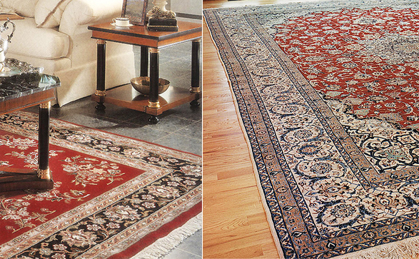 Nejad hand woven area rugs shown on both tile and hardwood floors