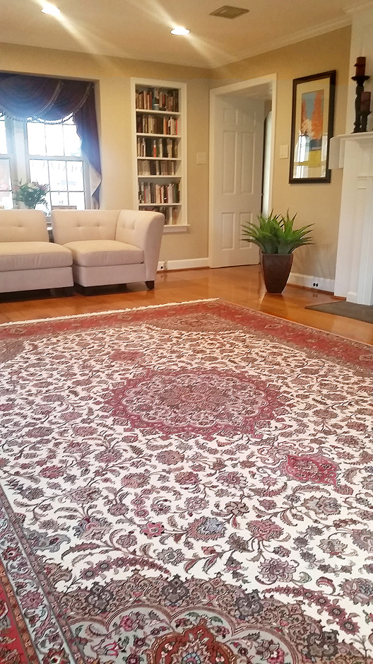 Nejad's very fine investment quality Persian Tabriz Silk & Wool rug 10' x 14' in Elkins Park PA modern residence.