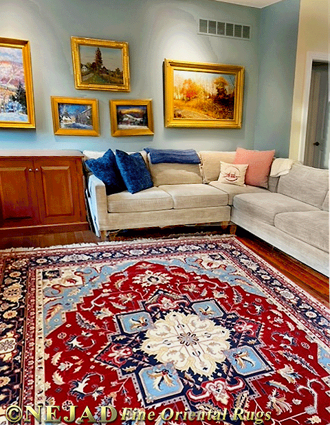 Very Fine Pakistan Heriz Rug in Our Clients' Living Room