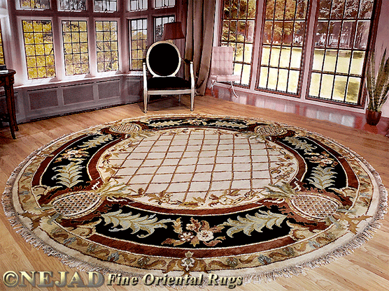 10' Round Pineapple Aubusson rug in Bryn Mawr PA home