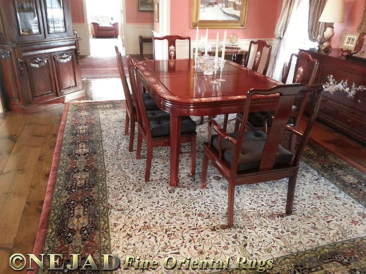 Persian Hunt Tabriz Rug in Newtown, Bucks County Dining Room
