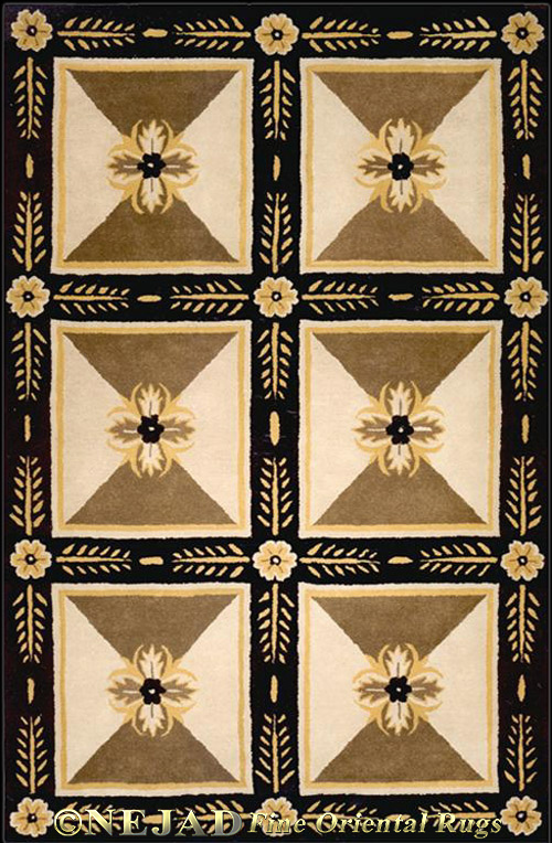 Empire Beige / Black - Nejad Casual Contemporary Rug  << Click Rug to Go Back