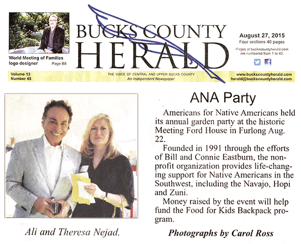 Nejad Sponsors ANA Garden Party to Benefit Native Americans