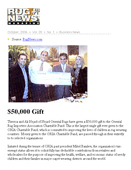 $50,000 GIFT TO ORIA Featured in Rug News