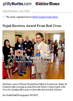 Ali Nejad Receives Award - from  Bucks County branch of American Red Cross