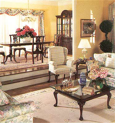 High Quality Handwoven In China, These Classic Persian And Chinese Design Oriental Rugs  Unite The Living And Dining Areas Of This Home.