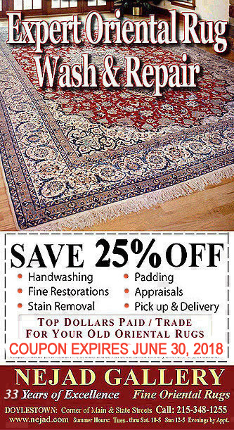 * * * Nejad Oriental Rugs Coupon Offer * * *  25% OFF Rug Wash, Restoration, Appraisals * * Top - Dollar Paid on Old Oriental Rugs * *  * * Offer Expires March 31, 2017 * *