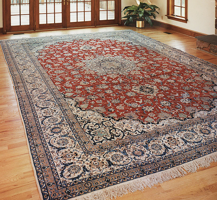 Very Fine hand-knotted room-sized Persian Nain carpet.
