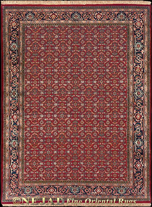 Herati Hand Knotted 100% Wool Rug by Nejad M011 - Burgundy field / Navy border