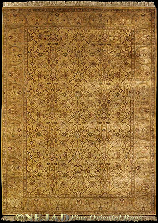 Golden Kerman Lavar rug << Click rug to Go Back