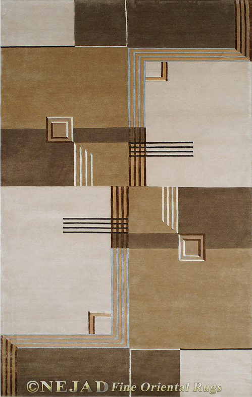 Architectural Elements Ivory/Brown - Nejad Casual Contemporary Rug  << Click Rug to Go Back