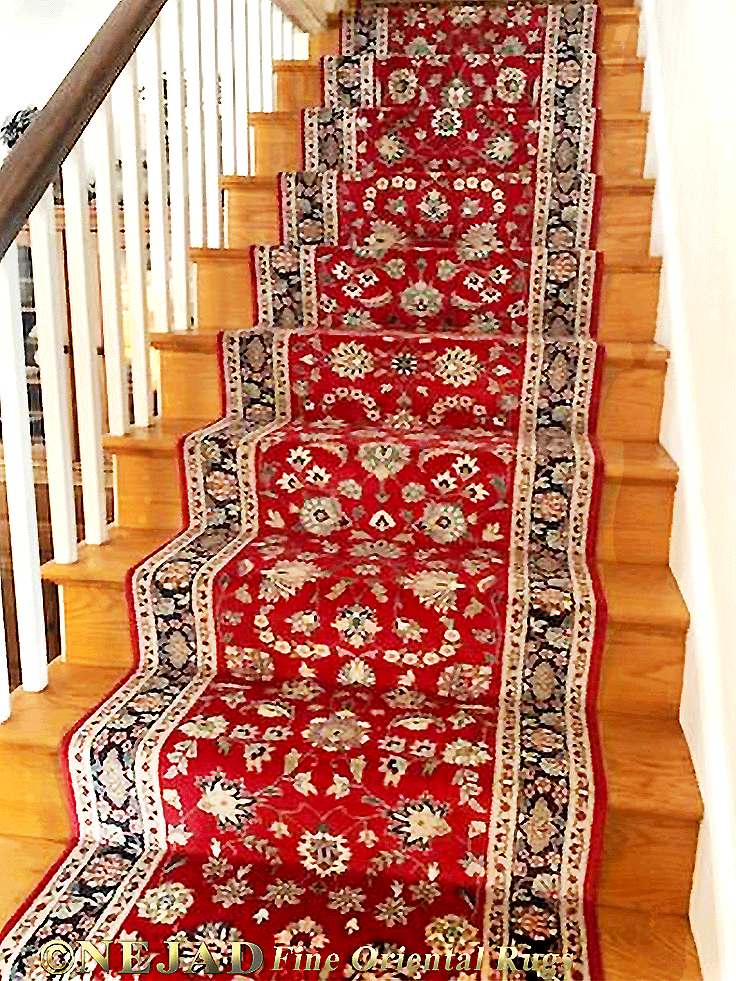 Delaware County Stair Runner Installation by Nejad Rugs of  Doylestown PA