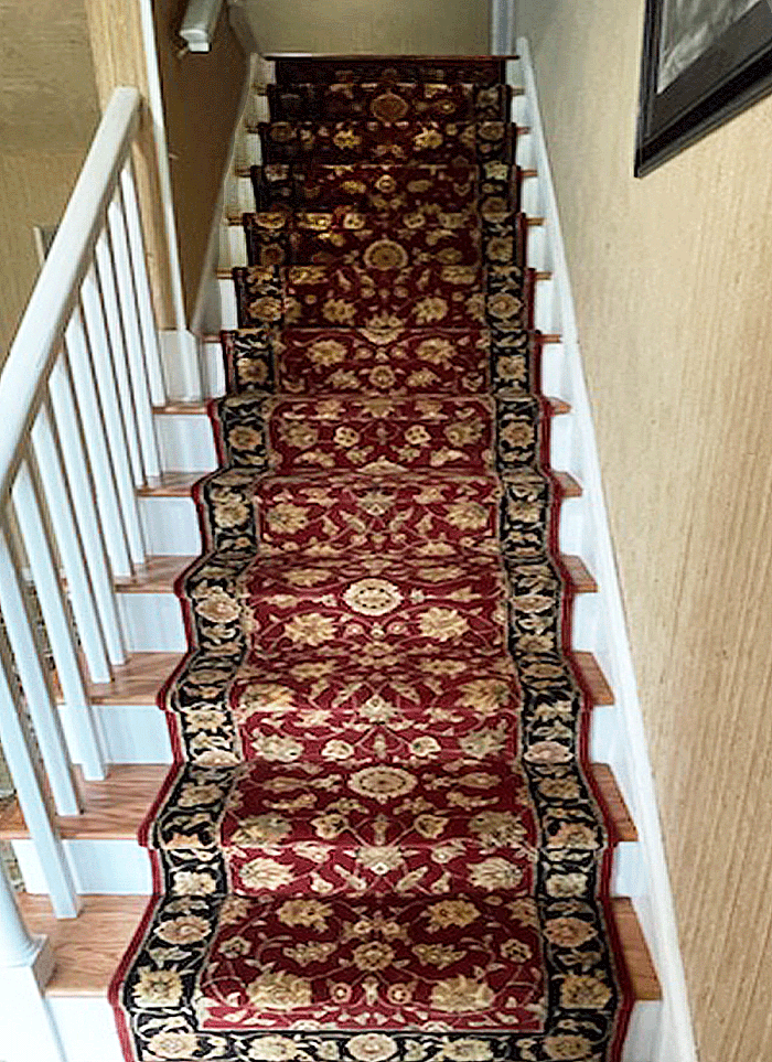 Philadelphia Staircase Handmade Wool Runner Installation with  Phillip Jeffries textured wall paper - After Installation