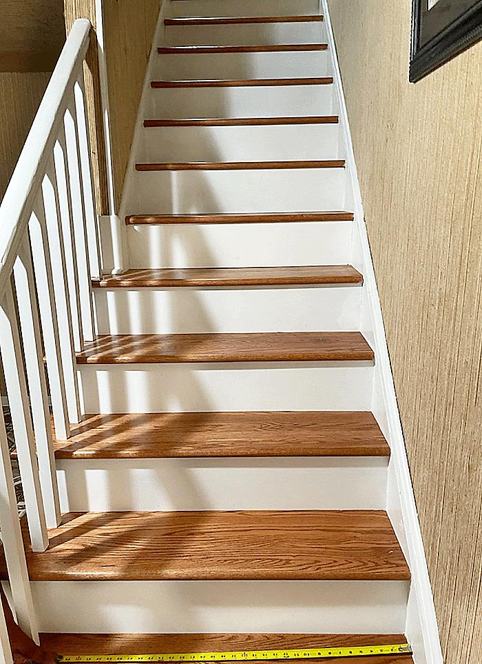 Philadelphia Staircase Handmade Wool Runner Installation with  Phillip Jeffries textured wall paper - Before Installation