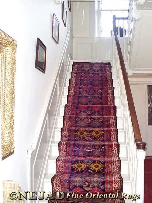 Staircase Rug Runner Installed by Nejad in Bucks County Estate as featured in Architectural Digest