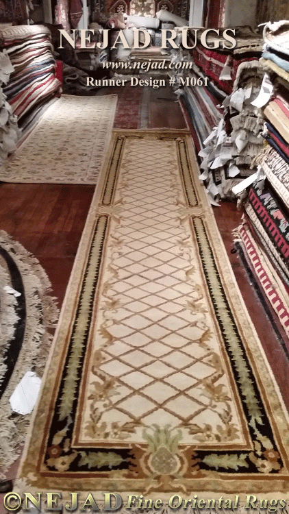 M061 Pineapple Aubusson with Trellis Field Runner by Nejad