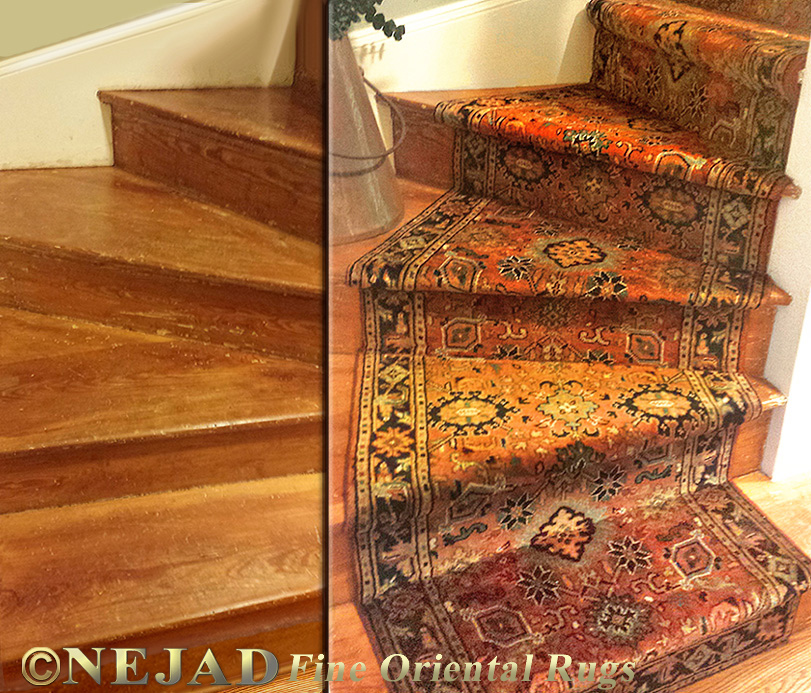 Nejad Rugs Staircase Runner Before After Comparison
