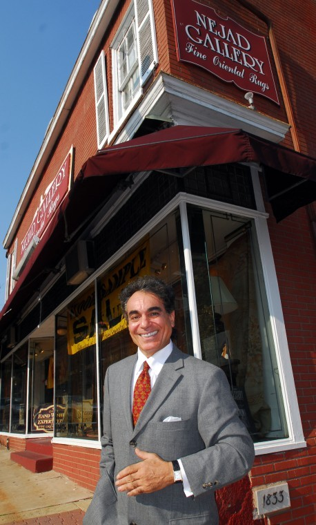 Ali Nejad, president and founder of Nejad Rugs, in front of Nejad Gallery rug showroom in the center of Doylestown